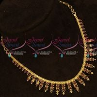 Kerala Style Ruby Stones Gold Covering South Indian Necklace Online