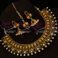 Kharbuja Beads Design Antique Gold Plated Jewellery Set Jhumka Tikka Online