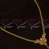 Casual Wear Ball Chain Multi Color Stones Pendant Gold Covering Jewellery Online