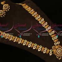 Broad Peacock Haram Intricately Designed AD Antique Jewellery Latest Low Price