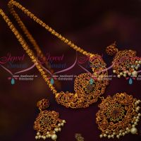 Traditional Design Matte Antique Chain Pendant Earrings Latest Semi Precious Stones