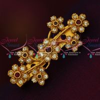 Floral Design Ruby White Antique Matte AD Stones Matching Saree Brooches Shop Online
