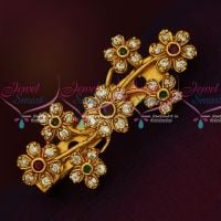 Floral Design Multi Color Antique Matte AD Stones Matching Saree Brooches Shop Online