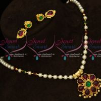Original Kemp Stones Traditional South Indian Pendant Pearl Beads Mala Online