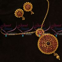 Gheru Reddish Antique Gold Plated Real Kemp Stones Pendant Earrings Ball Chain Online