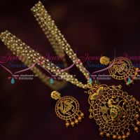 Real Kemp Stones Gold Design Pendant Earrings Pearl Mala Traditional Jewelry Online