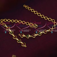 Multi Colour AD Stones Gold Plated Simple Design Earchains Online