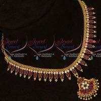Ruby White Marquise Stones Flexible South Indian Handmade Gold Finish Jewellery Set Shop Online
