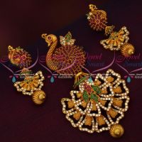 Peacock Design Stylish Long Size Pendant Matching Earrings Matte Gold Plated Jewellery Online
