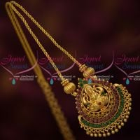 Ruby Emerald Temple Pendant Twisted Chain Latest South Indian Casual Wear Jewelry Online