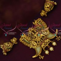 Tiger Nail Design Shiv Parivar Antique Traditional Pendant Jhumka Set