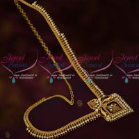 South Indian Gold Covering Haram Latest AD White Stones Spiral Design Online