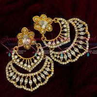 American Diamond Stylish Chand Bali Earrings Latest South Screw Jewellery Online