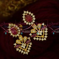 Ruby Stones Fancy Jewellery Flower Pot Earrings Latest Artificial Collections