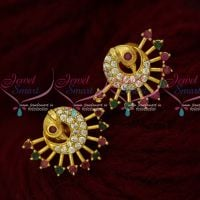 AD Jewellery Peacock Ear Studs Small Size Multi Colour Stones Shop Online