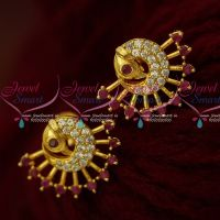 Ruby Stones AD Jewellery Peacock Ear Studs Small Size Shop Online