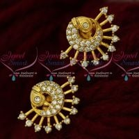 White Stones AD Jewellery Peacock Ear Studs Small Size Shop Online