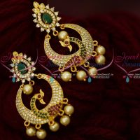 AD Stones Peacock Chandbali Artificial Jewellery Earrings Shop Online