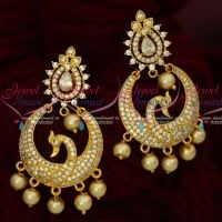 AD White Sparkling Stones Peacock Chandbali Artificial Jewellery Earrings Shop Online