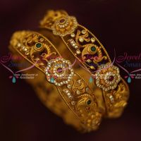 AD Antique Jewellery Matte Gold Finish Broad 2 Pcs Set Bangles Shop Online