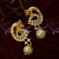 AD Jewellery Small Ear Studs Peacock Pearl Drops Stylish Imitation Online