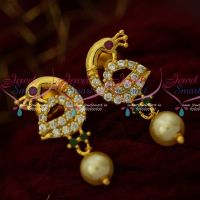 AD Trendy Imitation Designs Small Ear Studs Pearl Drops Artificial Jewelry Online