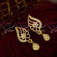 White AD Stones Gold Design Trendy Jewellery South Screw Earrings