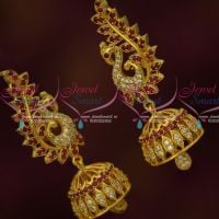 AD Jhumkas Ruby White Stones South Screw Earrings Designs Online