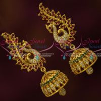AD Jhumkas Multi Colour Stones South Screw Earrings Designs Online