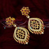 AD Stones Fashion Earrings Latest Design Ruby White Stones Shop Online