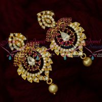 AD Earrings Latest South Indian Jewellery Design Screw Lock Shop Online