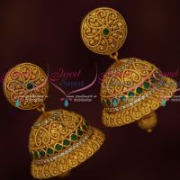 Floral Design Emerald Stones Perfect Shape Jhumka Earrings Latest Matte Collections