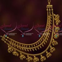 3 Layer Ear Chains Golden Beads Jewellery Bahubaali Style Latest Fashion Online