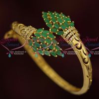 Emerald Green Stones Gold Plated AD Open Clip Kada Latest Imitation Jewelry Online