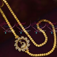 Peacock Model AD Mugappu South Indian Covering Chain Traditional Jewelry Online