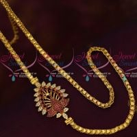 Ruby Peacock Mugappu Design Fancy Gold Covering South Chain Imitation Collections