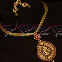 Ruby Stones Screwback Small Earrings Fancy Chain Pendant Set South Indian Jewelry Online
