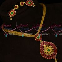 South Indian Gold Covering Red Green Kemp Jewellery Fancy Chain Pendant Set Online