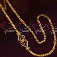 Fancy Gold Covering Chain Mugappu AD Ruby Stones Latest Models Online