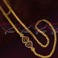 Fancy Gold Covering Chain Mugappu AD Multi Color Stones Latest Models Online