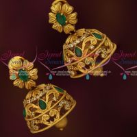 Medium Size Jhumkas Emerald Green AD Stones Latest Matte Antique Jewelry Online