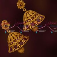 Floral Jhumkas Ruby Stones Latest Matte Antique Jewelry Online