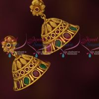 Floral Jhumkas Red Green Stones Latest Matte Antique Jewelry Online