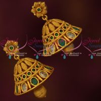 Floral Jhumkas Green Stones Latest Matte Antique Jewelry Online