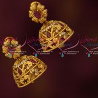 Medium Size Jhumkas Ruby AD Stones Latest Matte Antique Jewelry Online