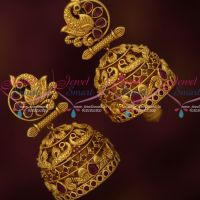 Big Broad Intricately Designed Peacock Ruby Jhumka Earrings Latest Fashion