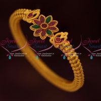 Matte Reddish Gold Plated Single Piece Floral Bangle Fancy Designs Online