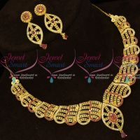 American Diamond Stones Forming Gold Plated Stylish Jewellery Set Online