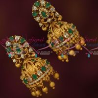 Emerald Green Bridal Jhumkas South Indian Fashion AD Jewelry Online