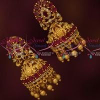 Ruby Stones Bridal Jhumkas South Indian Fashion AD Jewelry Online